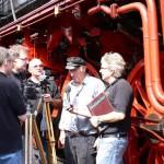 Das Filmteam im Interview mit dem Dampflokführer Adolf Knoke